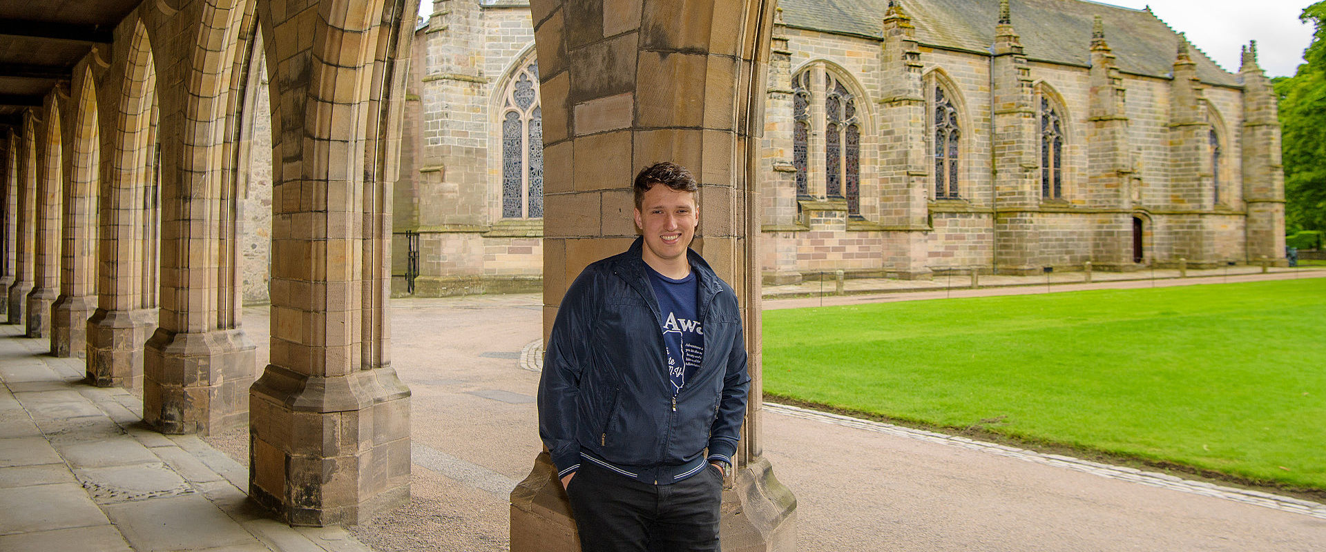 Mikael on campus at the University of Aberdeen